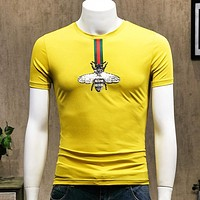 GUCCI New fashion embroidery bee stripe top t-shirt men Yellow