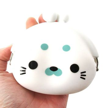 White Baby Seal Shaped Mimi Pochi Animal Friends Silicone Clasp Coin Purse Pouch