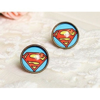 Superman Gemstone Stud Earrings = 1946503300
