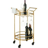 Linon Round Gold Metal Bar Cart, 2 Shelves, 3 Wine Holders - Walmart.com