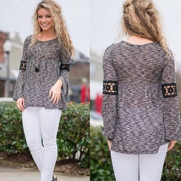 Gray Cutout Lace Sleeve Shirt