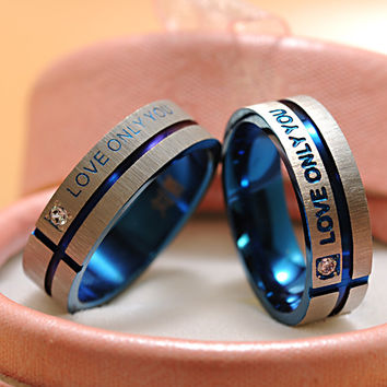 "Fashion Jewelry 316L Stainless Steel Simple Circle ""Love Only You"" Couple Rings,Wedding Ring,Engagement Rings -0411"