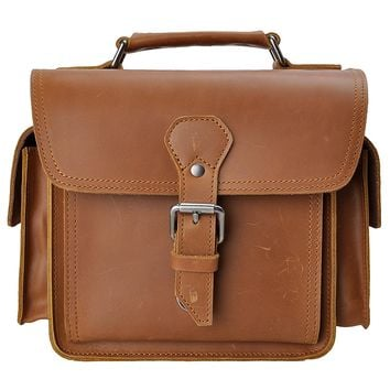 Leather Camera Bag ZLYC Vintage DSLR SLR Bag Removable Shockproof Padded Camera Case Small Messenger Shoulder Bag Satchel, Brown