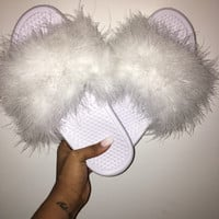 White Nike Faux Fur Slides