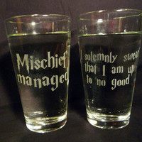 I solemny swear that I am up to no good/ by geekyglassware on Etsy