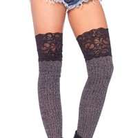 Knit Thigh High Socks with Lace Top