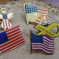Set of 5 American Themed Lapel Pins Pinbacks American Flag Eagle Angel Yellow Ribbon Support the Troops