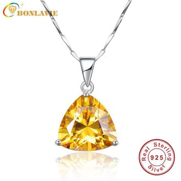 BONLAVIE 100% 925 Sterling Silver Pendant Necklaces with Yellow Citrine Pendant Stone Best Gift for Girl Friend Wedding Jewelry
