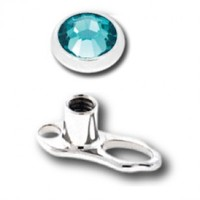 Titanium Internally Threaded Microdermal Anchor With Aqua Crystal - 14G Post with 4MM Disc and 2MM Rise - Sold Individually