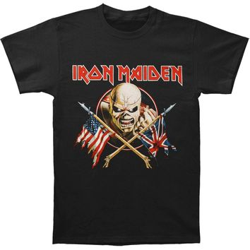 Iron Maiden Men's  Crossed Flags T-shirt Black