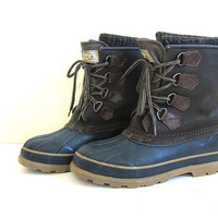 Vintage Tall Brown & Blue Duck Boots - womens Size 7