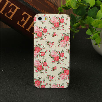 Classical Flower Fresh Floral Fashion Style Back Cover Phone Case for iPhone 4 4s 5 5s SE 6 6s