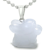 Amulet Lucky Charm Rabbit Totem in White Snowflake Quartz Good Luck Powers Pendant 22 Inch Necklace