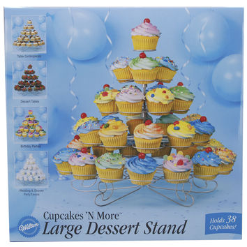 """NEW! Cupcakes 'N More Large Dessert Stand-Silver 15""""""""X18"""""""" Holds 38 Cupcakes"""