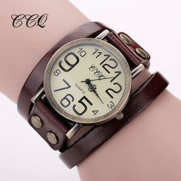 CCQ Brand Hot Antique Leather Bracelet Watch Vintage Women Wrist Watch Fashion Unisex Quartz Watch Relogio Feminino BW1373