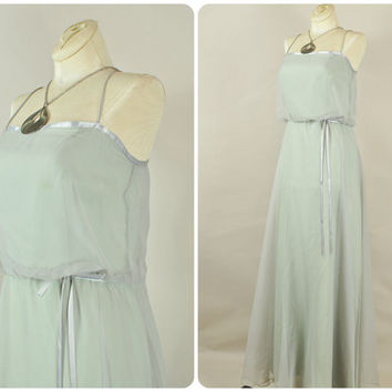 sheer mushroom grey chiffon lilac bow ribbons ultra draped grecian maxi wedding bridal dress vintage 1970s