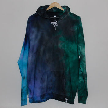 American Apparel Tie Dye Hoodie Black/Blue/Green