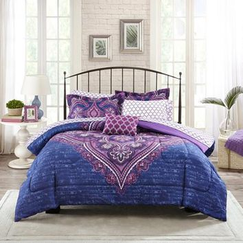 Mainstays Bed-In-A-Bag Grace Medallion Bedding Set - Walmart.com