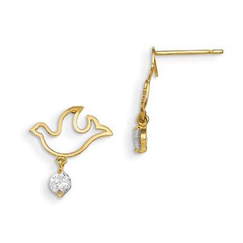 14k Yellow Gold Madi K Cz Children\'s Dove Dangle Post Earrings