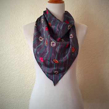 Vintage 80's Triangle Scarf Grey Floral Stripe Satin Oversized Headscarf
