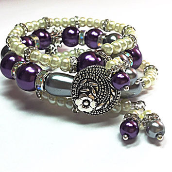 Dragonfly Bracelet - Purple Wrap Bracelet - Bohemian Beacelet - Button Bead Bracelet - Christmas Gift - Stocking Stuffer - Boho Chic TDC610