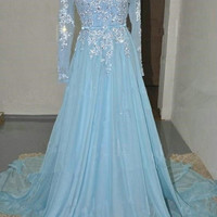 Long Sleeve Blue Applique A-Line Prom Dresses Evening Dresses