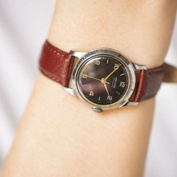 Tomboy wristwatch black Moscow, unisex classic watch rare, boyfriend's watch mid century, premium leather strap new