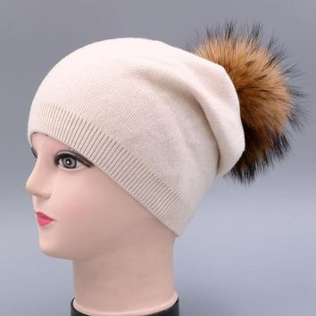 hot winter 15cm raccoon fur ball cashmere acrylic knitted hat for women double warm casual lady cap beanie skullies female