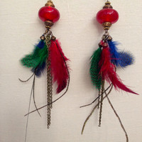 Multi-Color Guinea Natural Feather Mix Gypsy Long Earrings, Antiqued-finished Chain - Boho Chic Dangling Fashion Jewelry