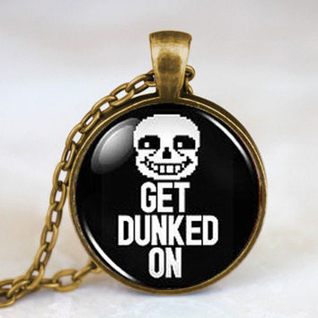 Undertale Sans Get Dunked On Game Gamer Gaming Mens Fashion Necklace brass silver Pendant steampunk Jewelry Gift women toy chain