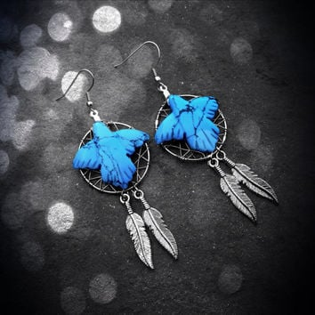 Dream Catcher Earrings - Turquoise Bird