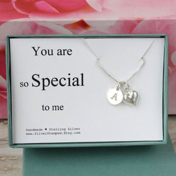 You are so special to me sterling silver initial necklace - unique gift for daughter, wife, girlfriend, niece, granddaughter, anniversary
