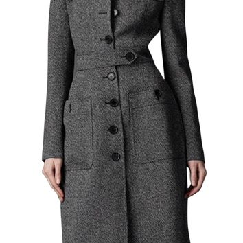 Women Fit Long Trench Coat Full Length Wool Blend Jack Gray