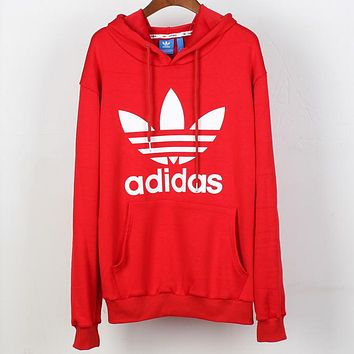 ADIDAS Clover couple classic big logo loose long sleeve hoodie Red