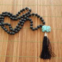 Lava Beads Necklace, Turquoise Sacred Elephant Charm with Tassel.