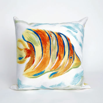 """Angel Fish Pearl 20"""" Square Indoor Outdoor Pillow"""