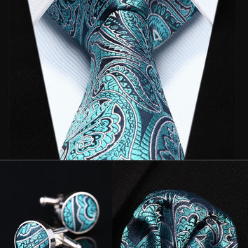 "TZP13Q8 Aqua Paisley 3.4"" Silk Men Tie Necktie Handkerchief Cufflinks Set Party Wedding Classic Pocket Square Tie"