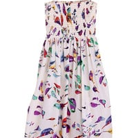 ROMWE Birds Print Straps Pleated Slim Dress