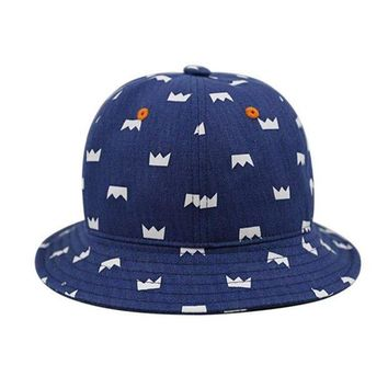 LMF78W New Infant Cap Blue Crown Print Summer Outdoor Baby Girls Boys Sun Beach Bucket Hat X16