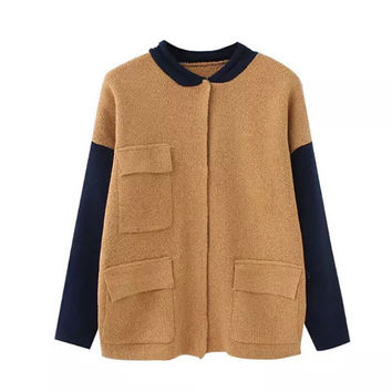 Khaki Band Collar Sleeve Patch Pocket Cardigan