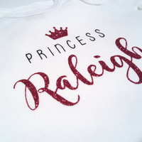 Princess Crown Glitter bodysuit, Personalized shirt, Custom name bodysuit, Baby shower, cute baby gifts, birthday, baby girl, new baby