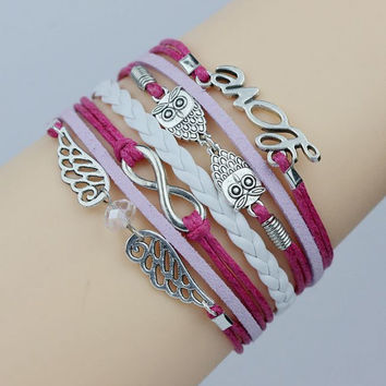 Wing, Owl, Infinity and Love Bracelet Angle wing and  Owls Bracelet   Antique Silver