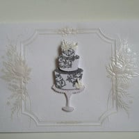 Blank Handmade Wedding Cake Greeting Card or Invitation