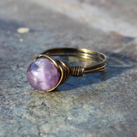 Handmade Wire-Wrapped Amethyst Ring Trendy Boho Chic Genuine Amethyst Ring BOGO OFFER see listing