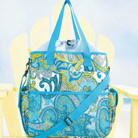 Stylish Blue Quilted Insulated Tote Carrying Bag for Beach Picnics Outdoor Event