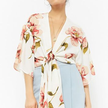 Selfie Leslie Floral Self-Tie Top