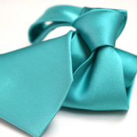 Wide Satin Silk Tie (3.75 inch) in Solid Turquoise