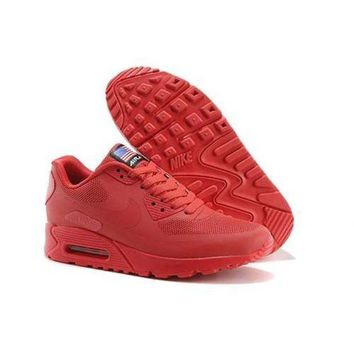 ICIKIN2 Men s Women s Nike Air Max 90 American Flag Red Shoes