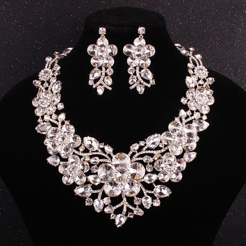 New Luxury Big Flower Bridal Jewelry Sets For Brides Women Wedding Clear Crystal  Necklace Earring Set Party Prom Accessories
