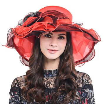 HISSHE Womens Kentucky Derby Hats Organza Floral Church Wedding Dress Tea Part Hat For Ladies Fashion Casual Summer Hat